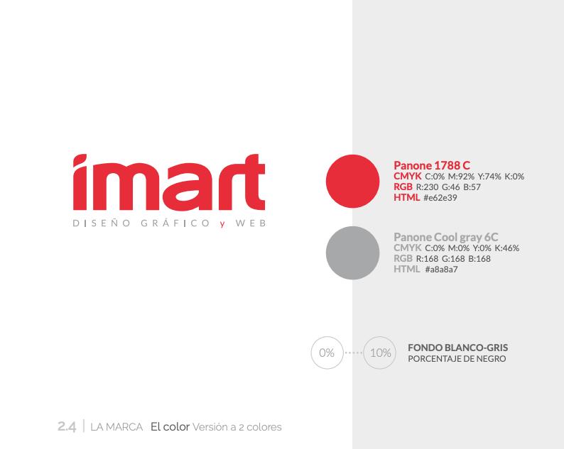 Detalle del manual de identidad corporativa del estudio de diseño gráfico y web Imart