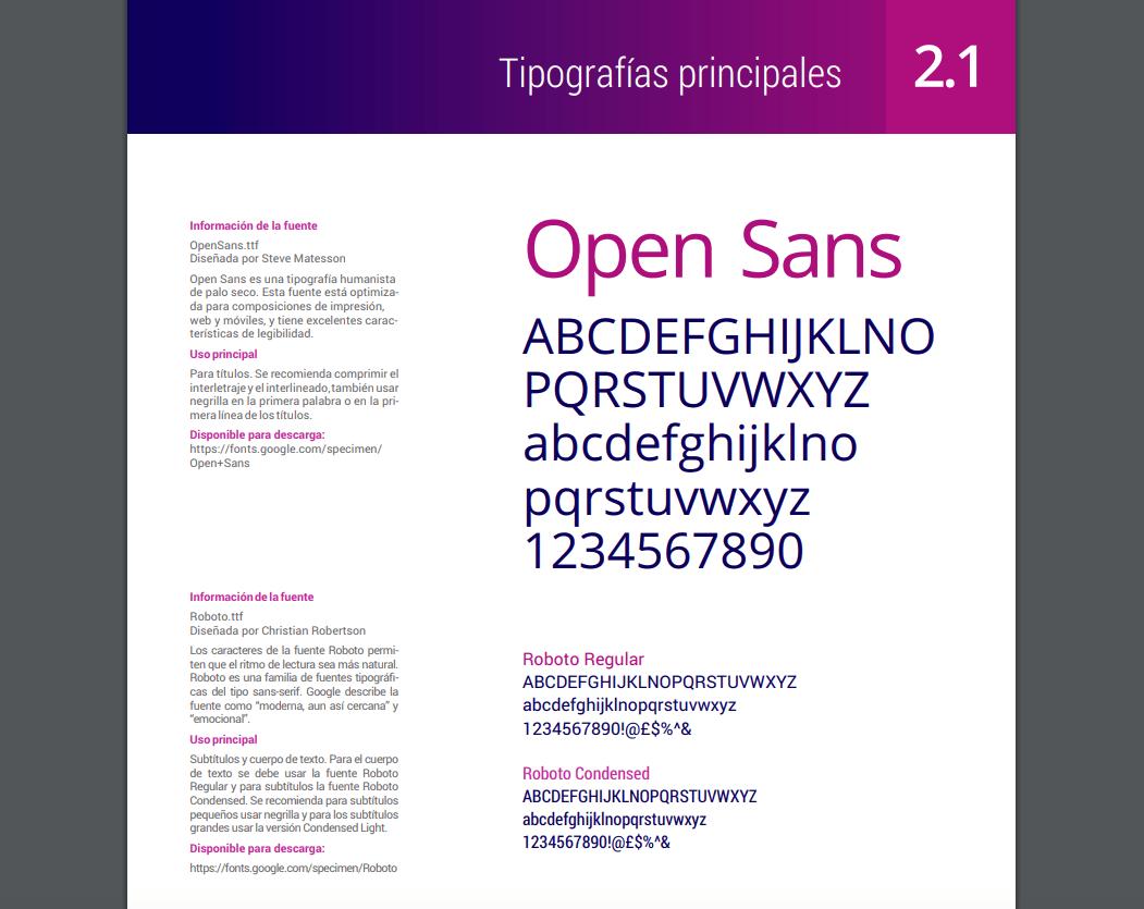 Información tipográfica del manual de identidad corporativa de la Red Nacional Académica de Tecnología Avanzada (Renata)