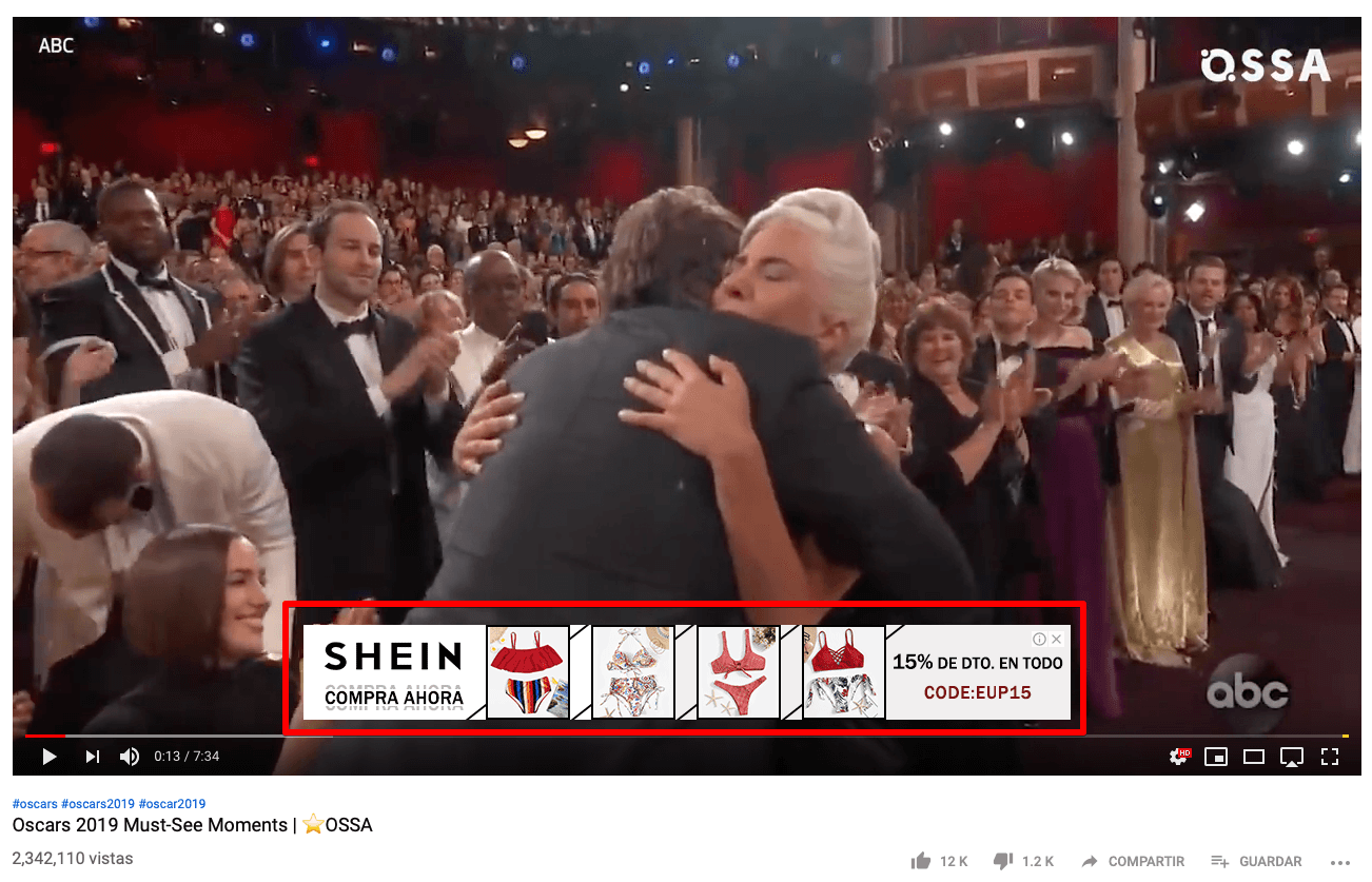 anuncio in-video overlay de YouTube