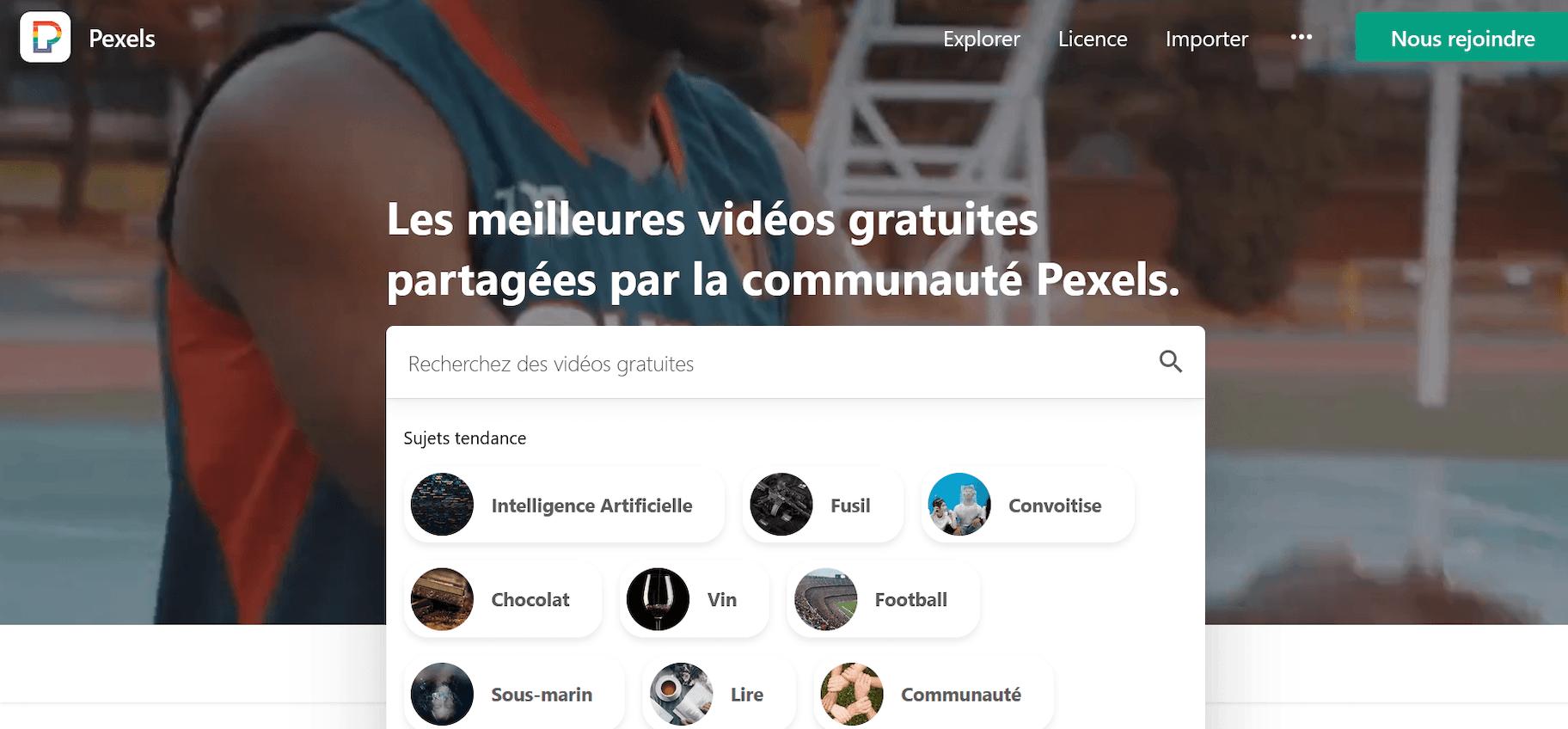 site de vidéo gratuite libre de droit Pexels