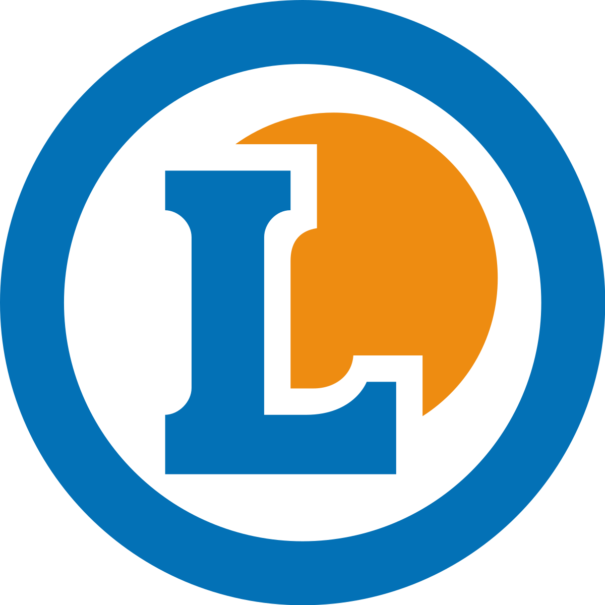 couleurs complémentaires bleu et orangee logo leclerc
