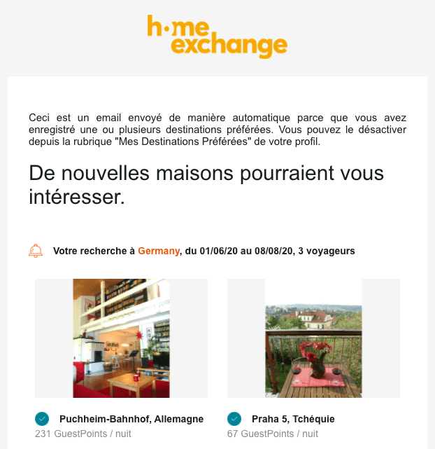 Newsletter exemple homexchange