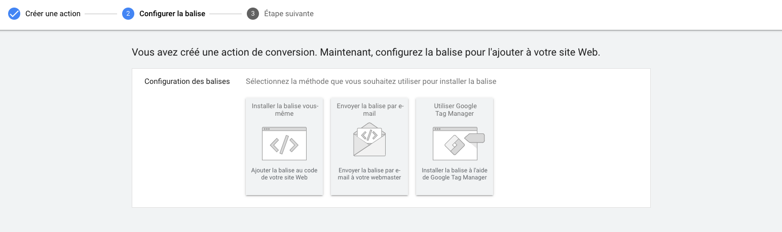 configuration balise adWords