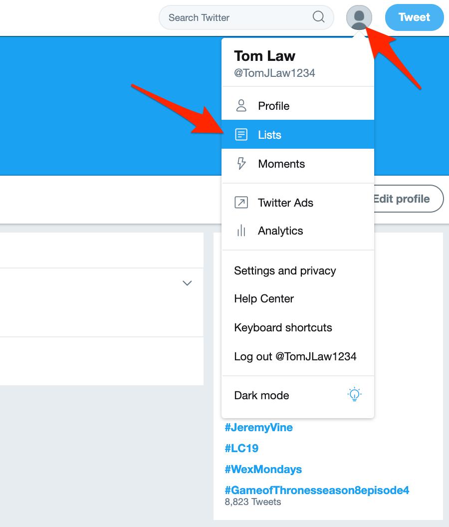 listes sur Twitter