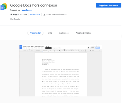 Extension Google Doc Hors extension