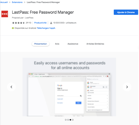 Extension Chrome LastPass