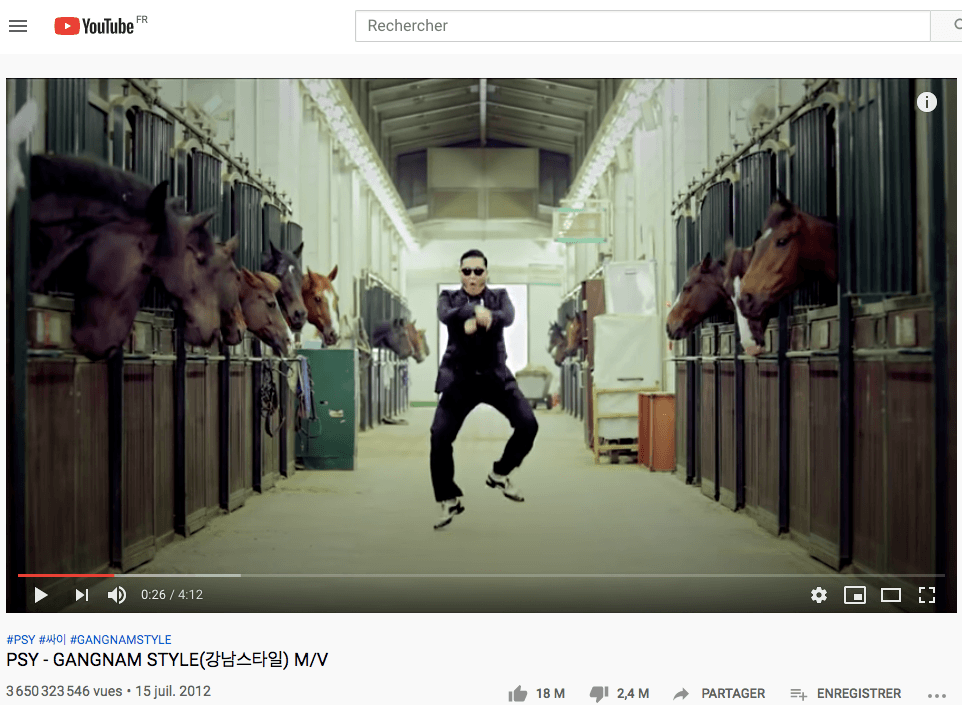 Gangnam Style de Psy 7eme video la plus vue sur Youtube de tous les temps