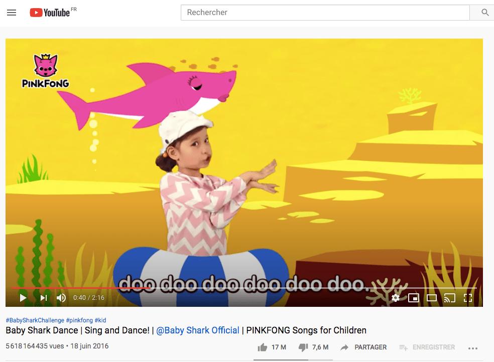 Baby Shark 2eme video la plus vue sur youtube de tous les temps