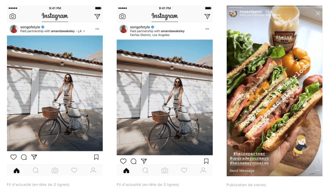 partenariat instagram exemple
