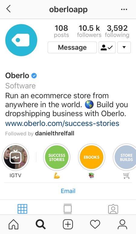 Instagram oberlo