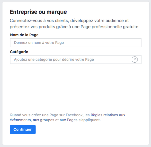 faire une page facebook pro