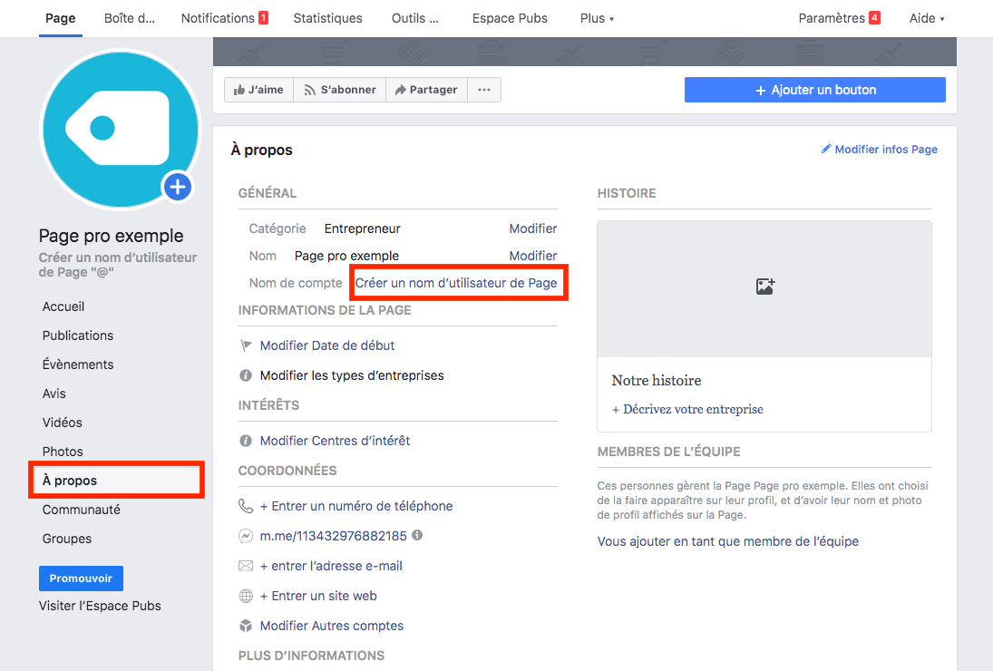 nom utilisateur page