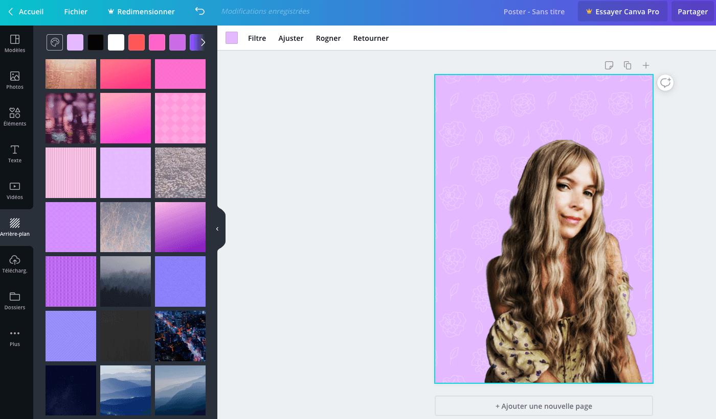changer le fond d'une image avec canva