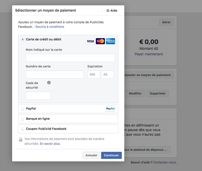 Ajouter un moyen de paiement