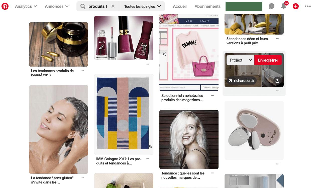 Trouver des produits à vendre sur Pinterest
