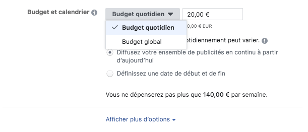 Budget publicité Facebook
