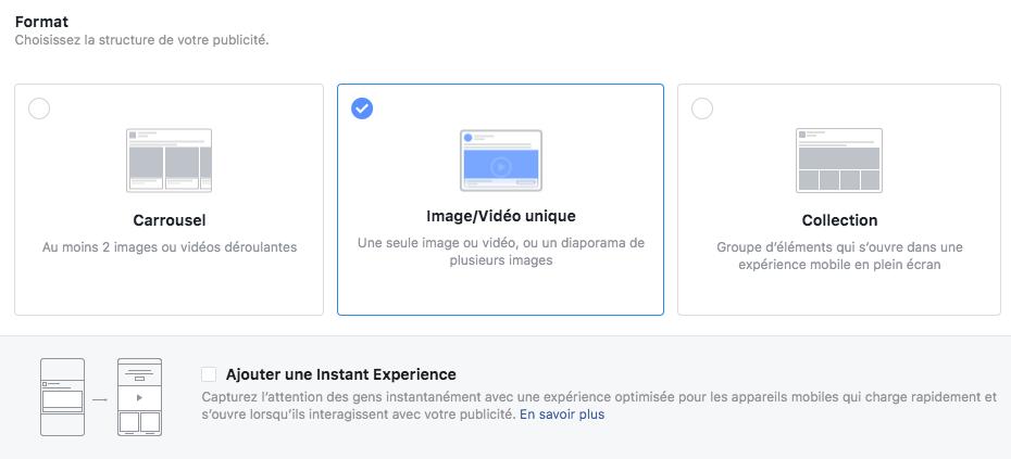 Format publicité Facebook
