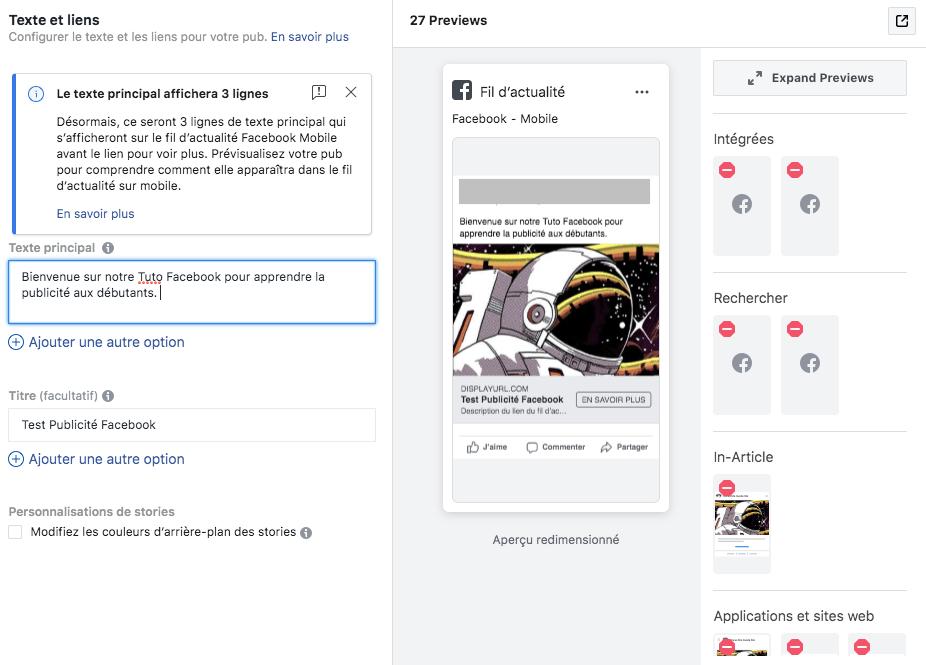 Texte pub Facebook