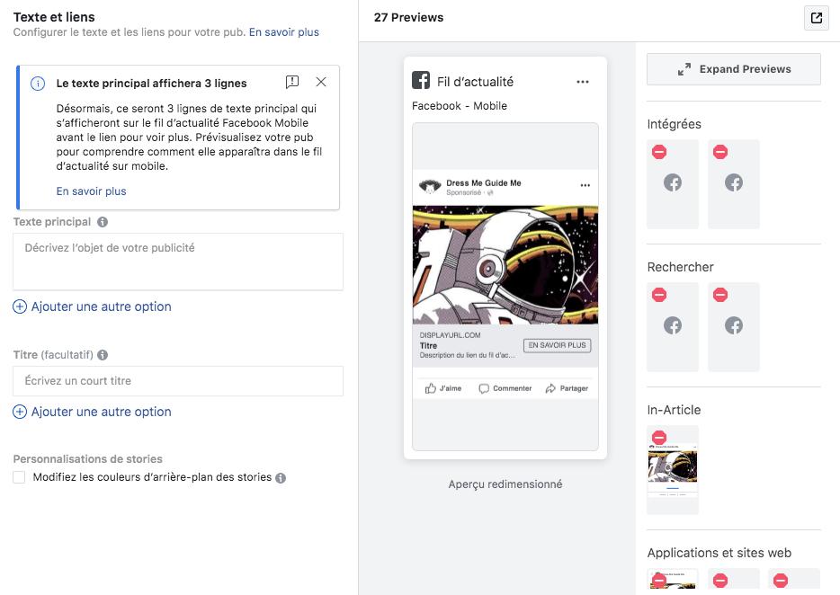Texte publicité Facebook