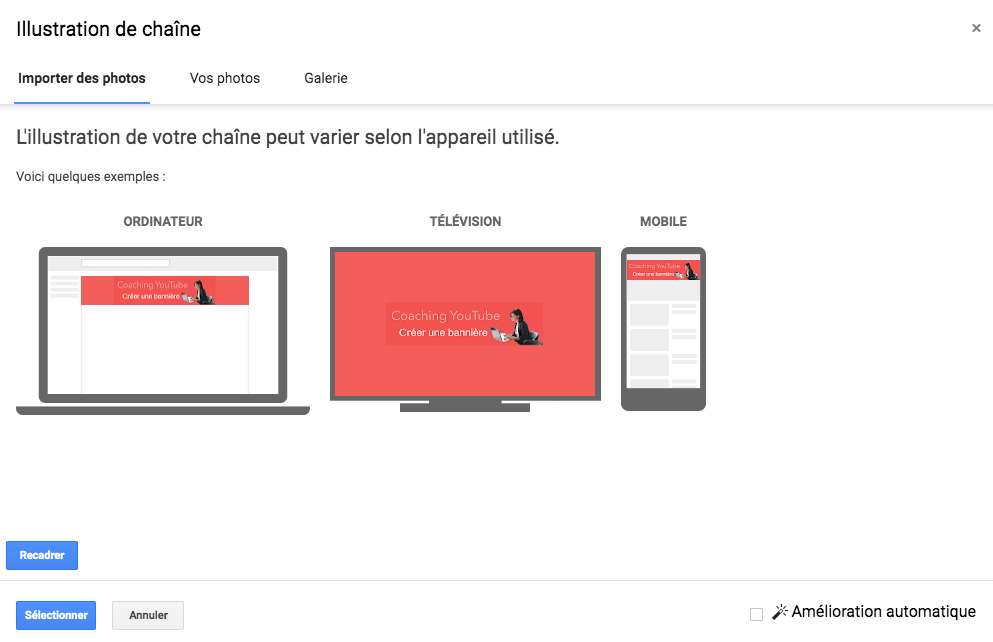 Couverture YouTube responsive