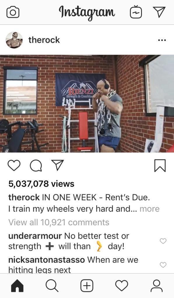 formato video instagram: esempio di the rock