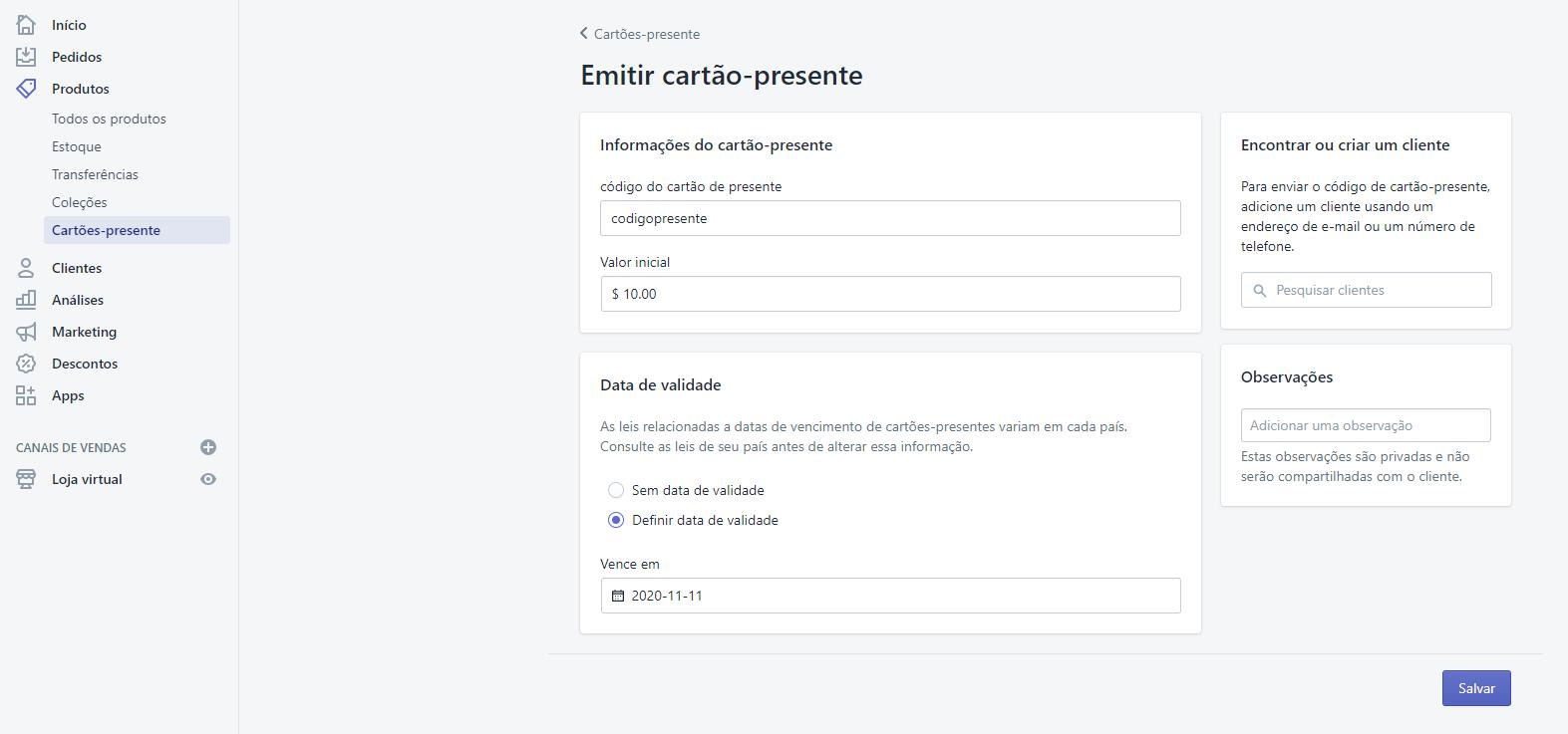 Cartões-presente no site da Shopify para vender na Black Friday Brasil