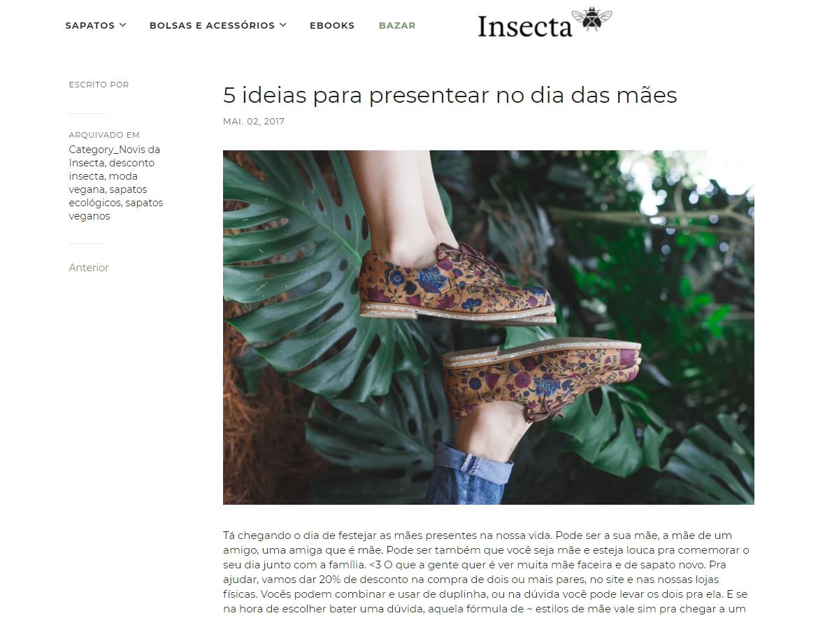 Black Friday marketing: guias de presente com ideias de produto, na página do blog da Insecta