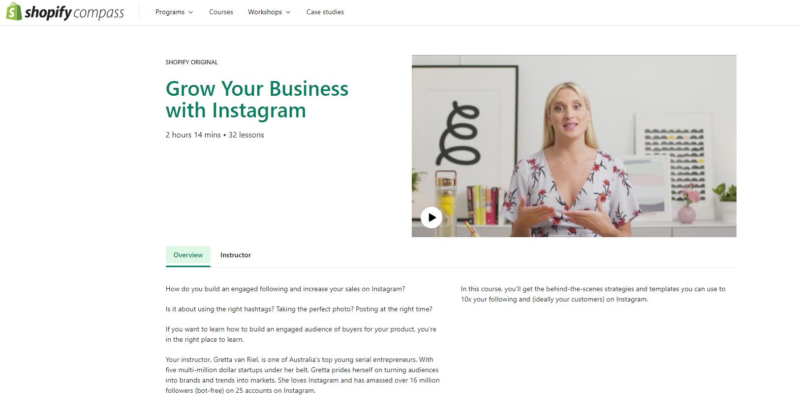Curso para empreendedor: Cresça seu negócio com o Instagram, da Shopify Compass