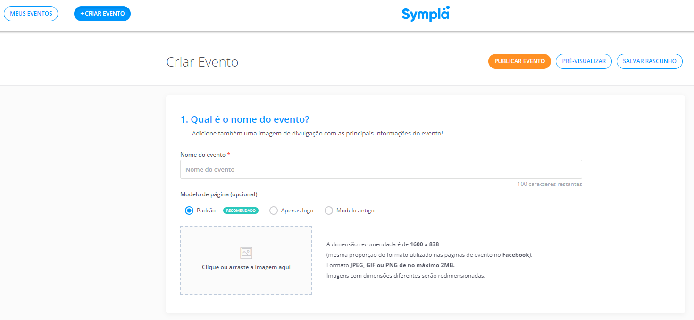 Como fazer webinar e página de inscrição: página de cadastro do Sympla