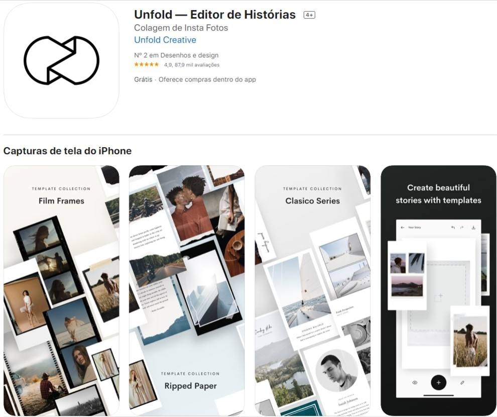 unfold, app para Stories