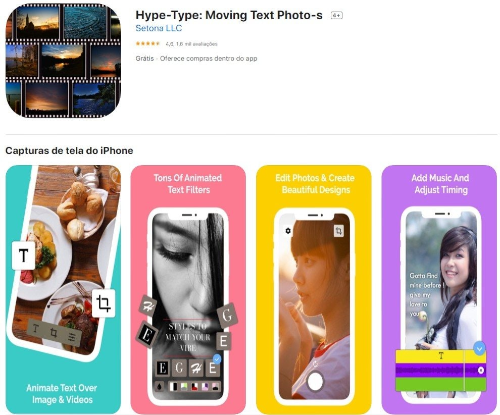 hype type, app para stories
