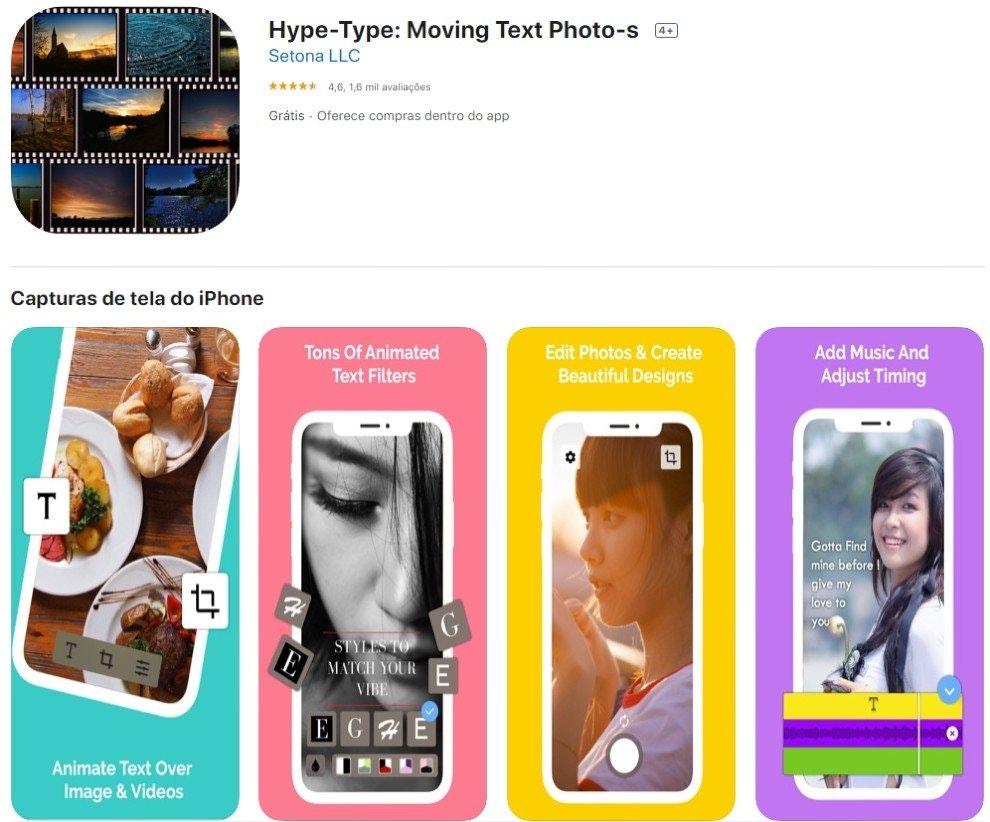 hype type, app para stories