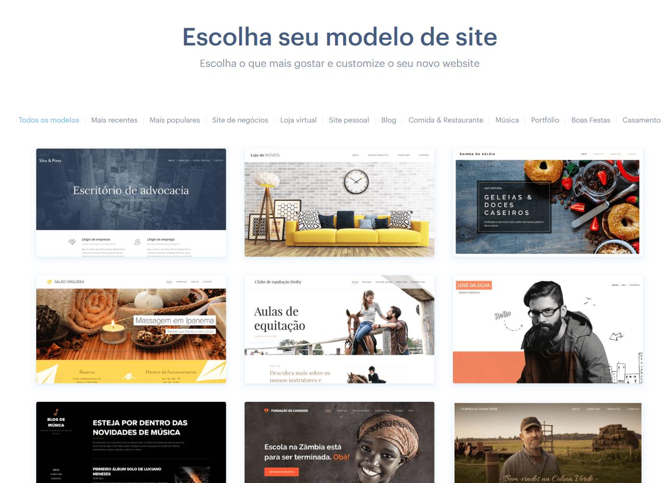 como criar um site: escolha o modelo