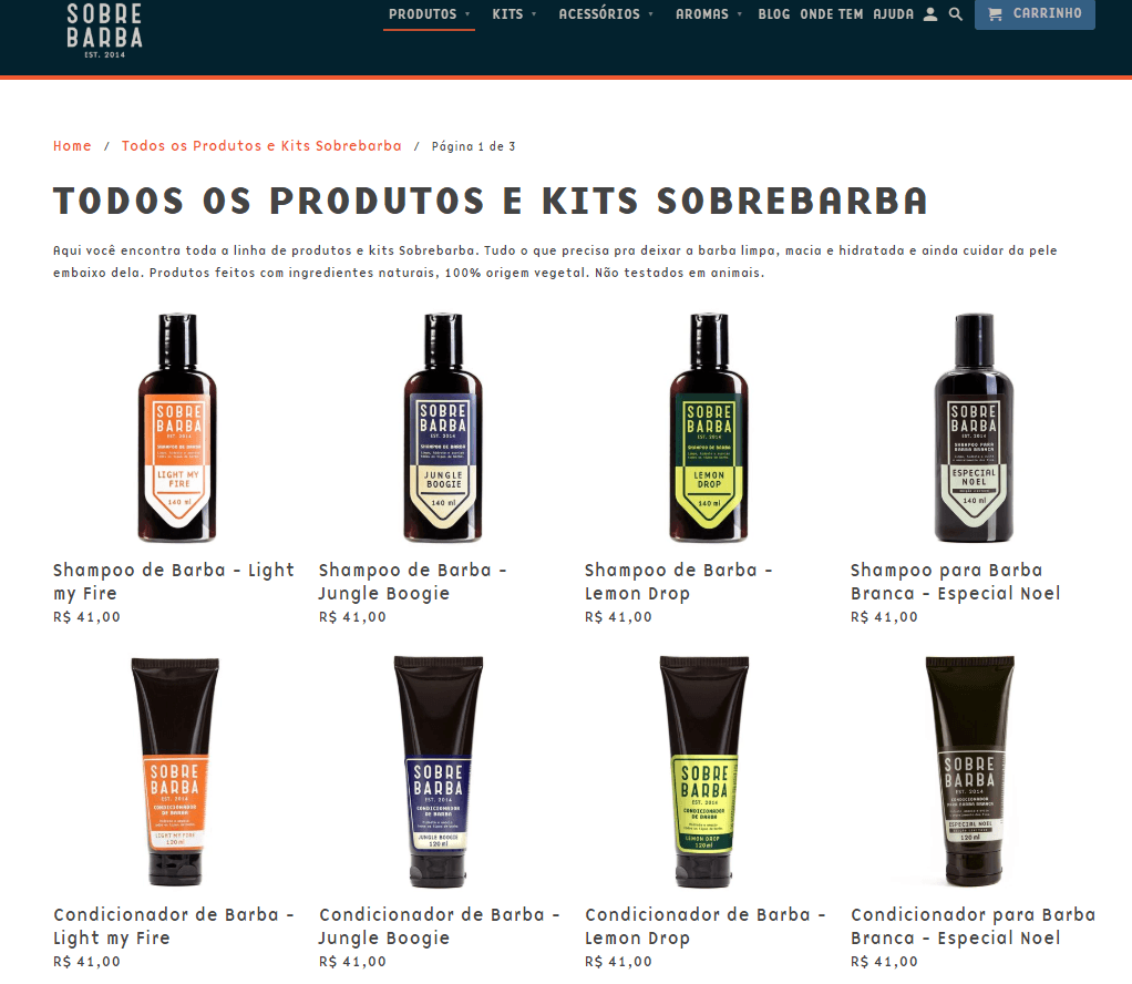 Exemplo de site criado no Shopify: Sobrebarba
