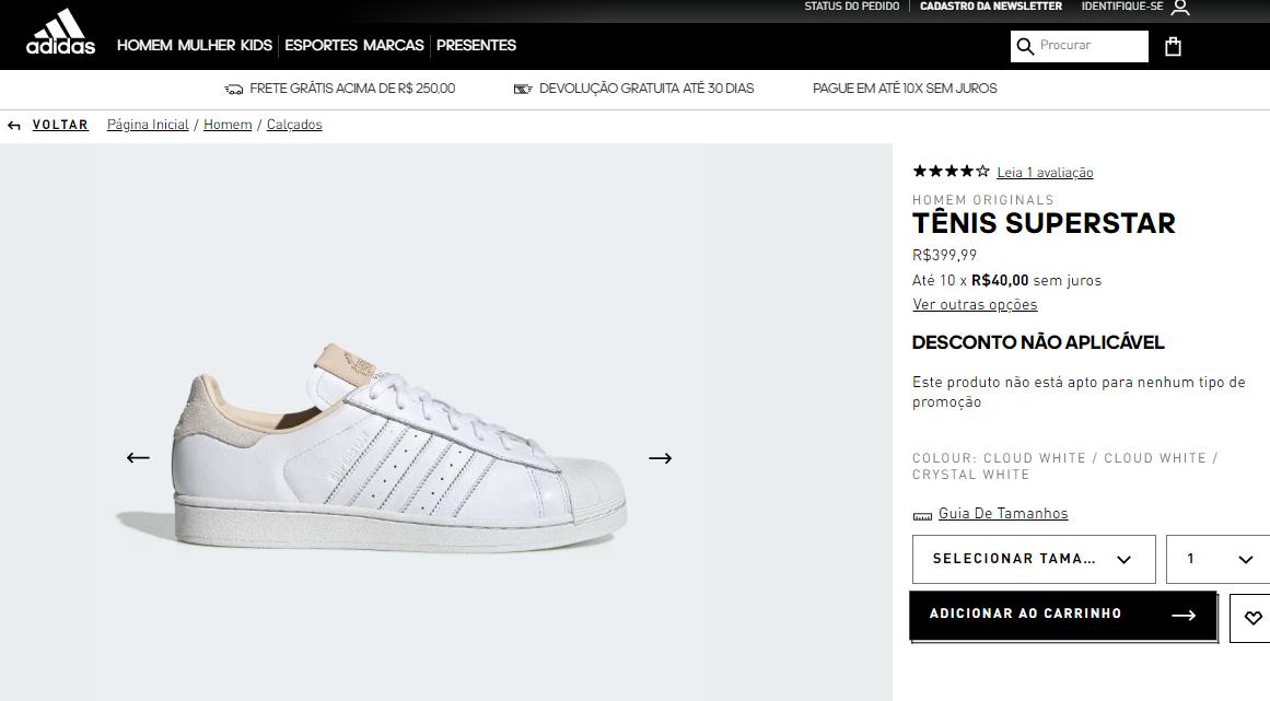 Site da Adidas