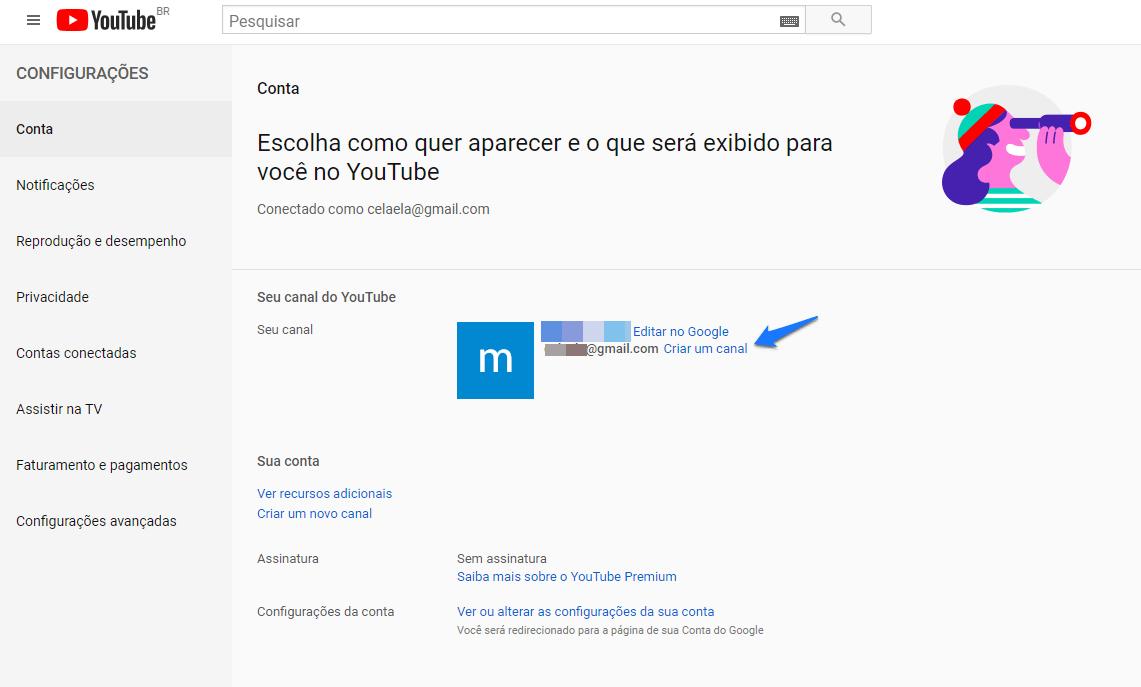 fazer login canal do youtube configurações