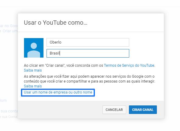 como criar um canal no youtube: usuário
