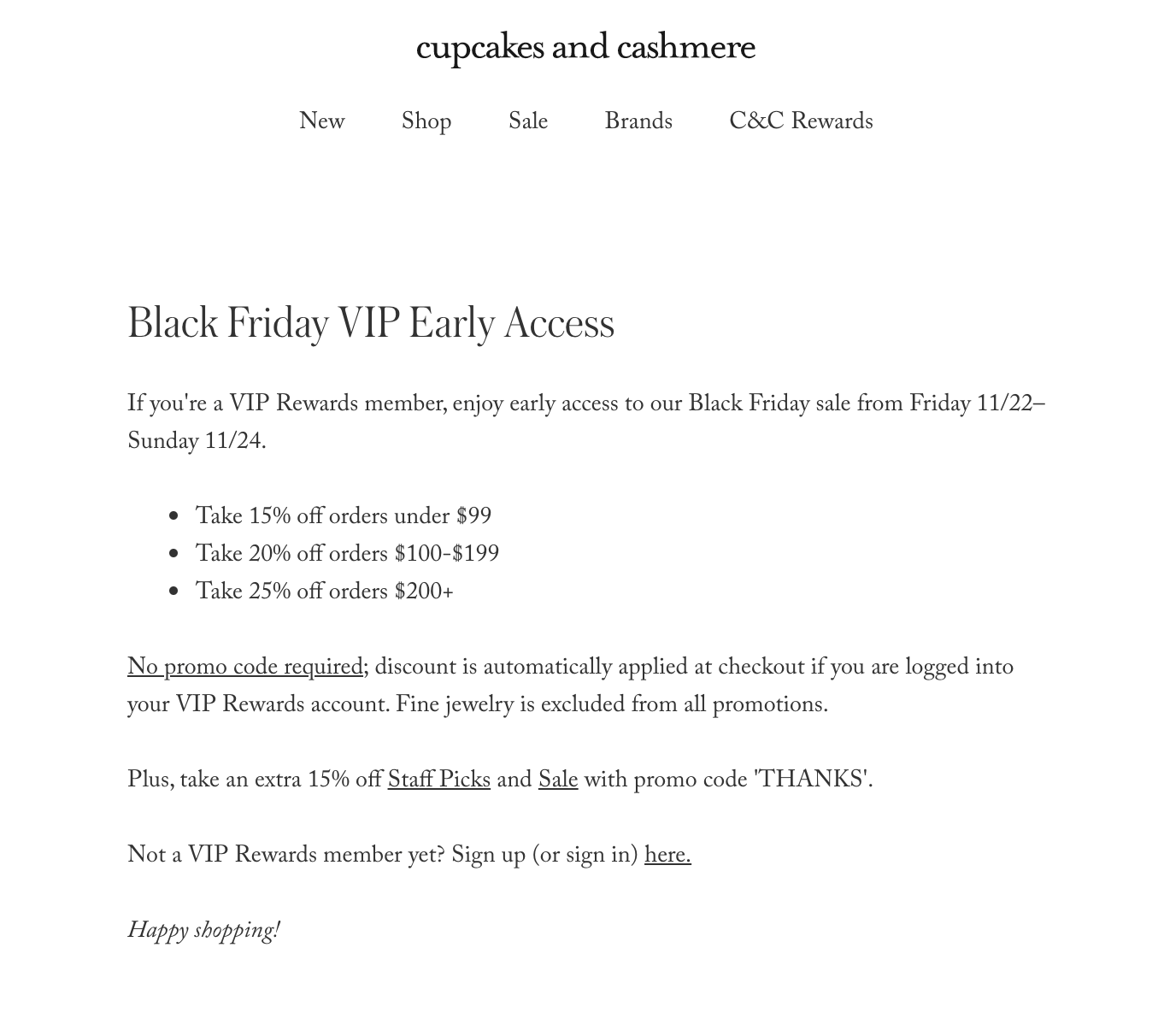 black friday VIP promotion
