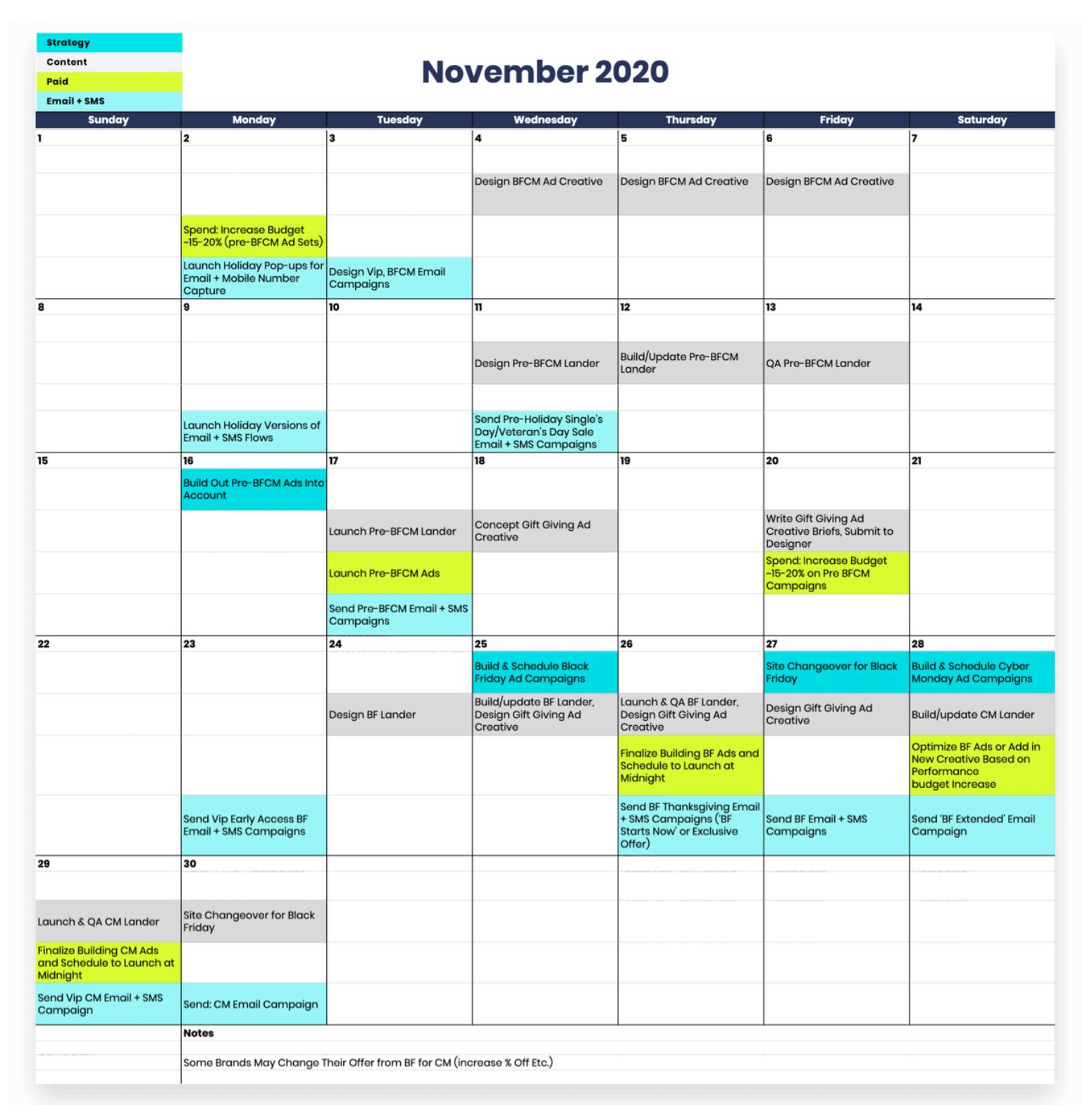 Black Friday content calendar