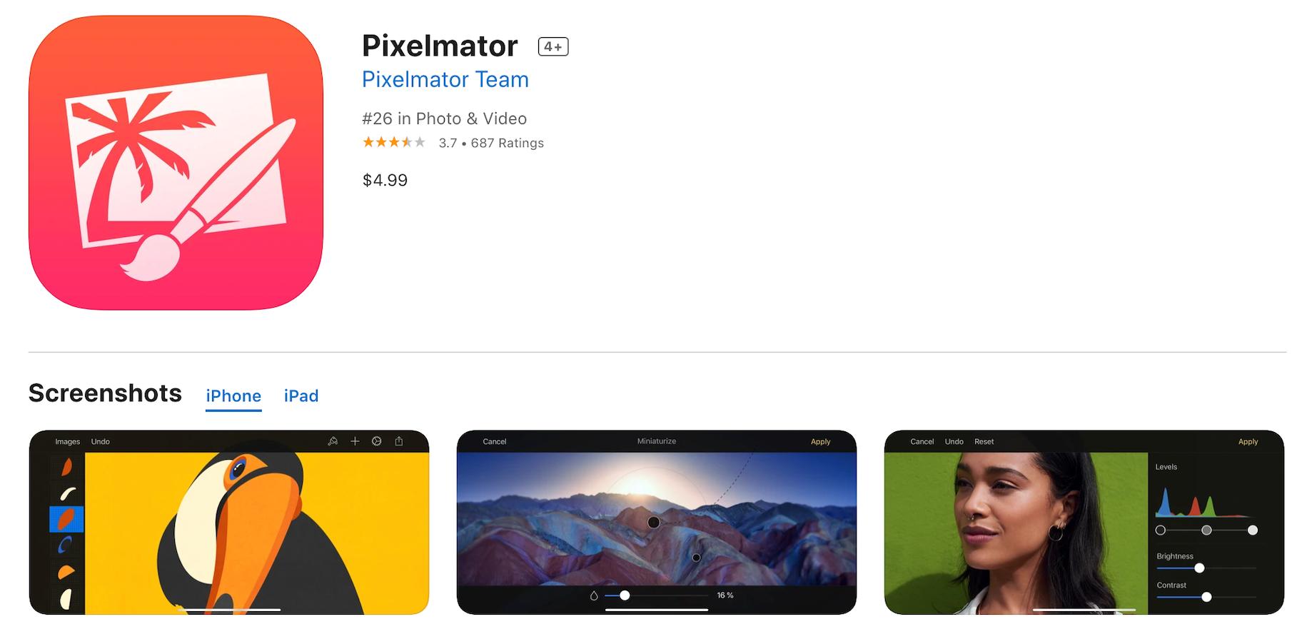 Pixelmator paid photo editor app