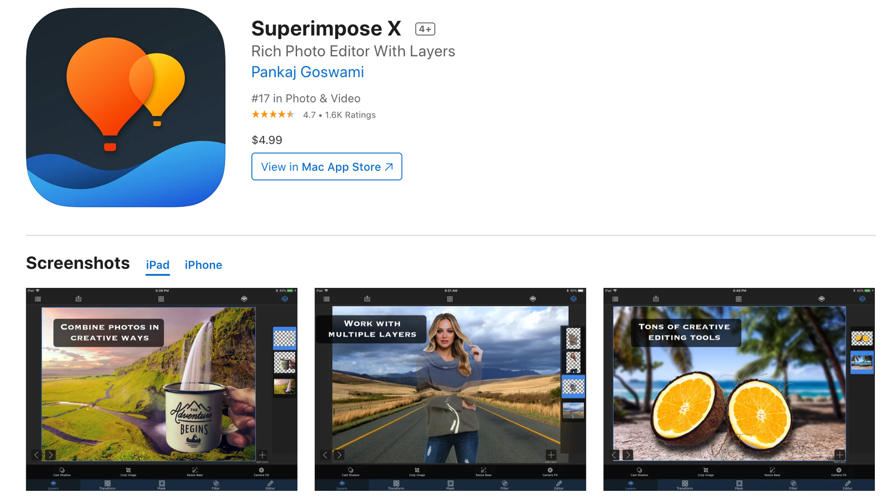 superimpose x