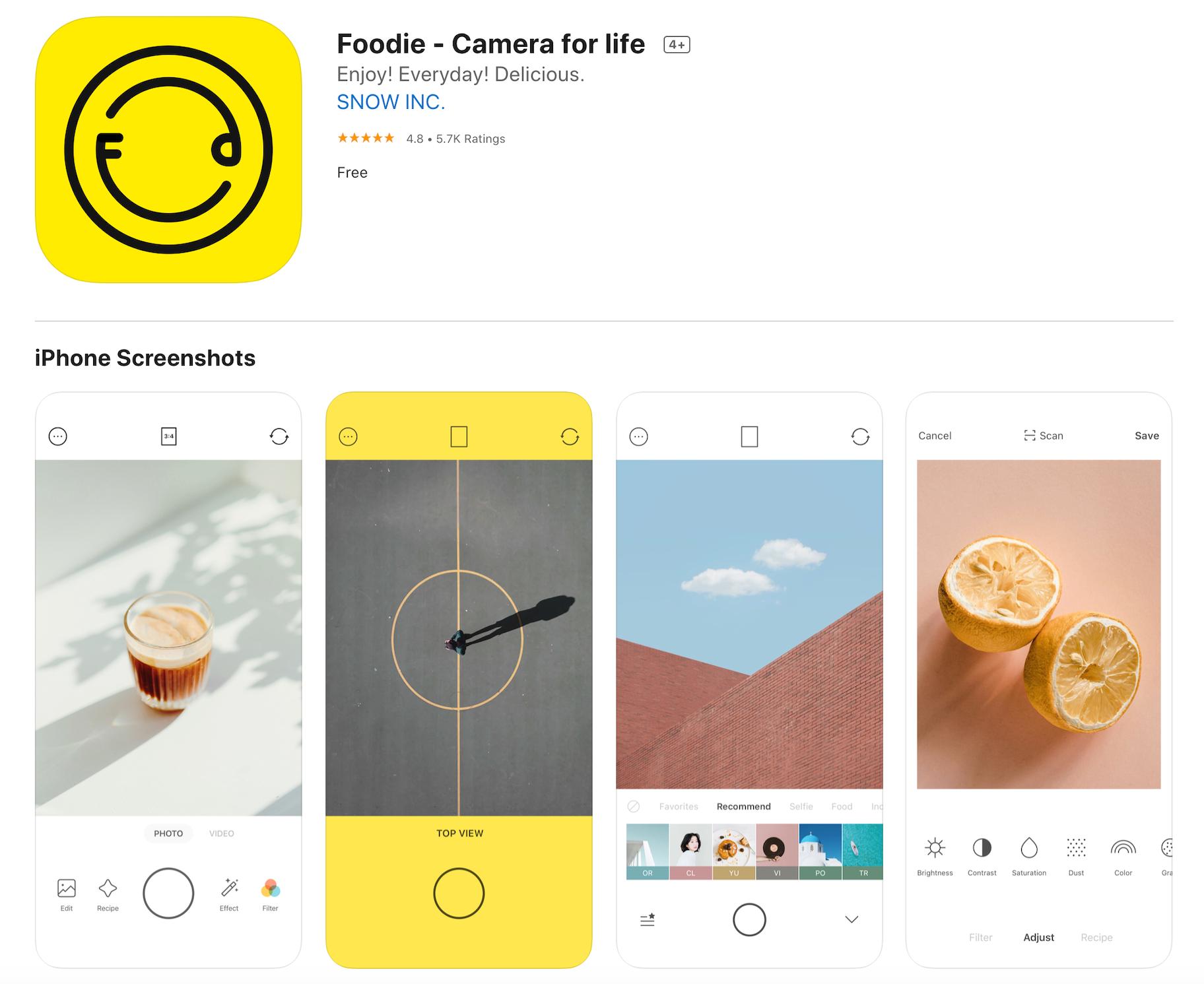 Foodie Free Photo Filters App