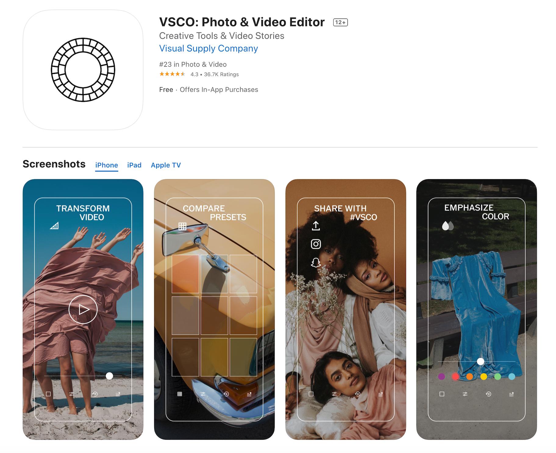 VSCO Photo Filters App Free