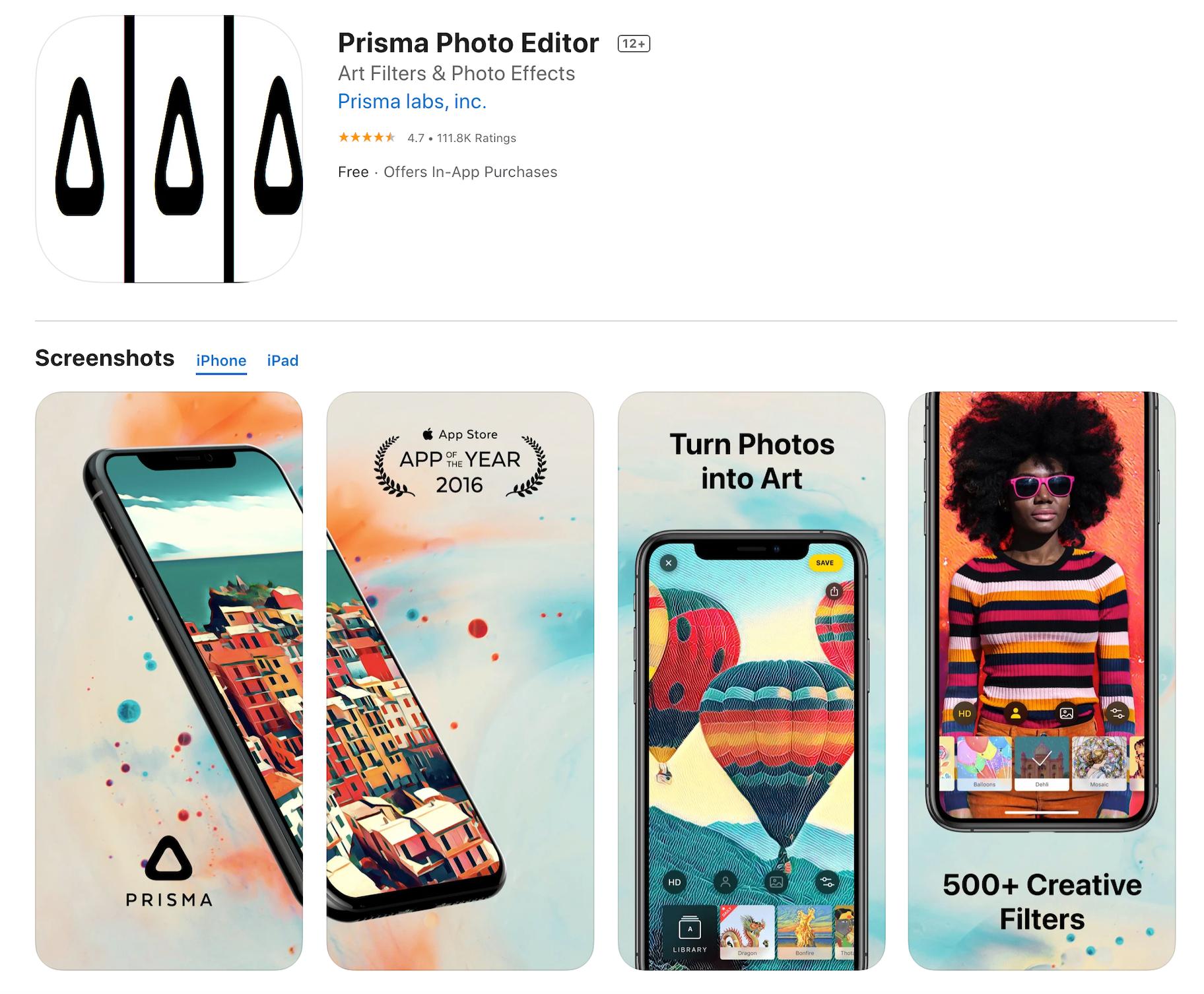 Prisma Photo Filter App