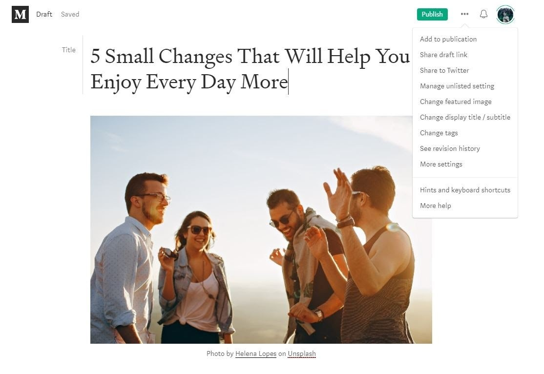 Screenshot of add to publication option on Medium