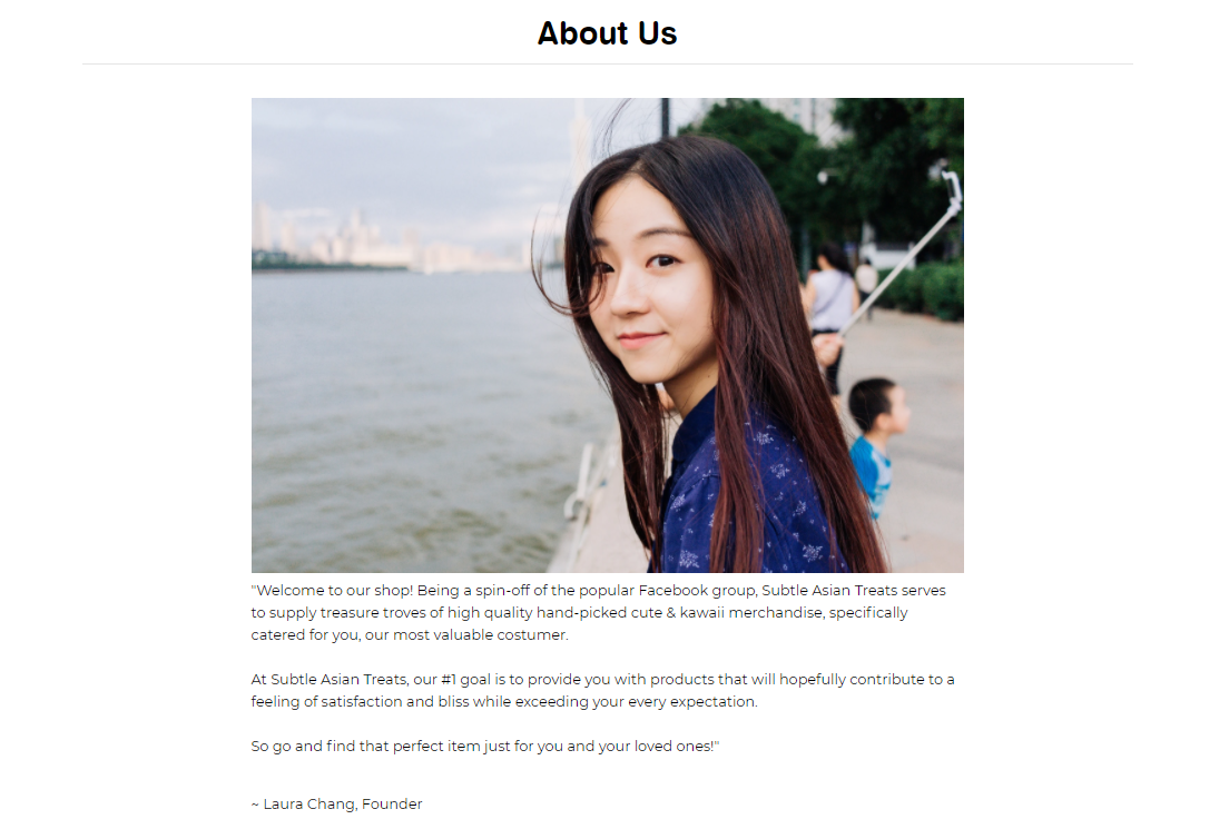 Subtle Asian Treats about us page screenshot