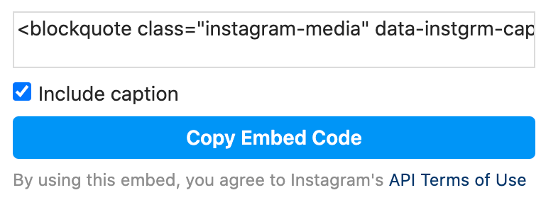 Instagram embed for blogs