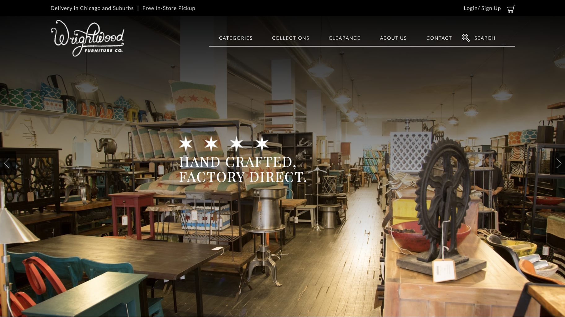 Small Business Website Example: Wrightwood Furniture