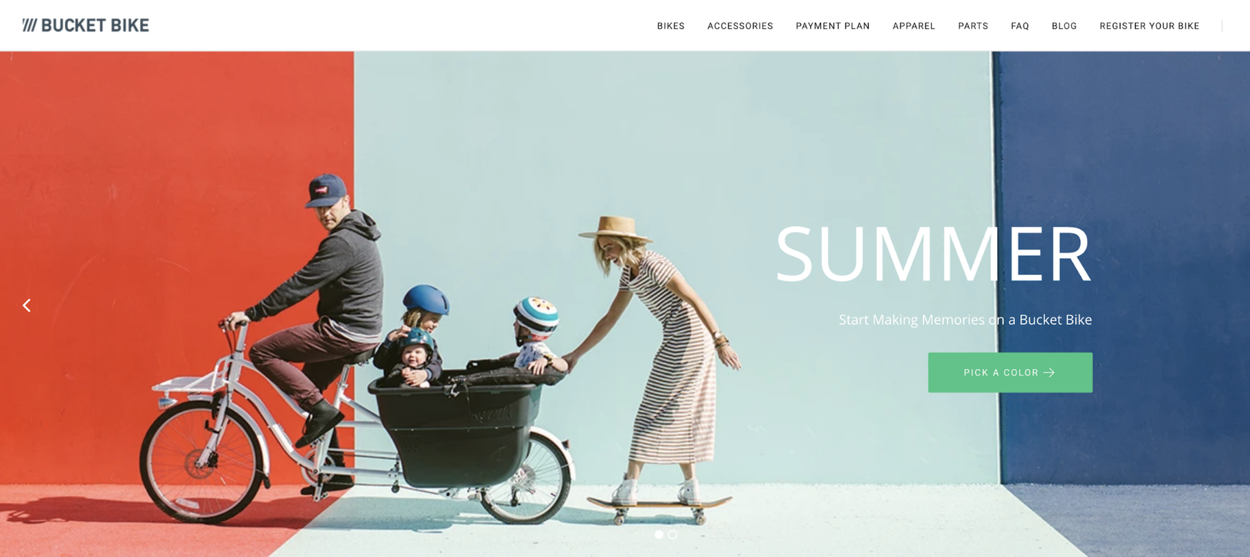 Small Business Website Example: Bucket Bike