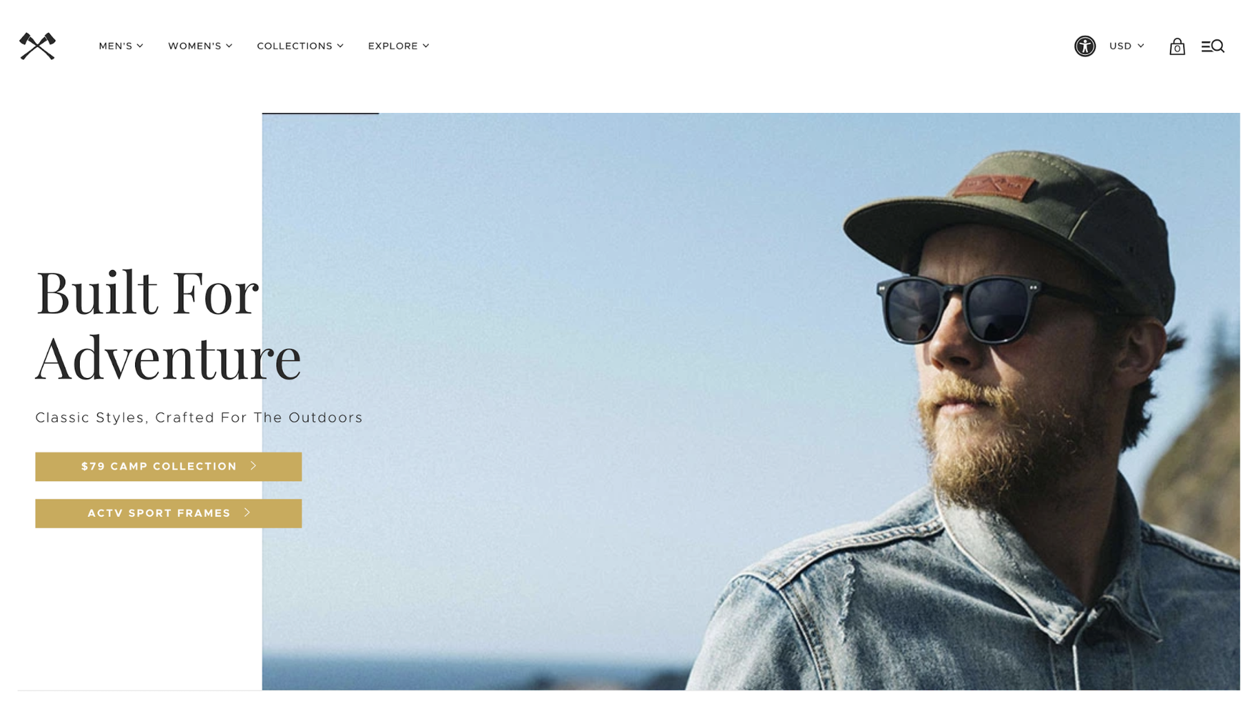 Small Business Website Example: Shwood Eyewear